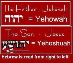 Jehovah opposite Jehoshua or Jeshua; The names of the Father and the son