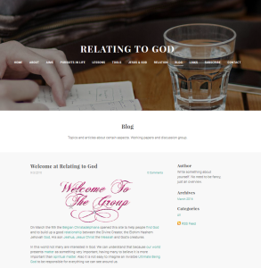 Relating to God Weebly site Blog page on its starting day 2016 03 09