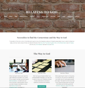 Relating to God (Weebly website) Tools page