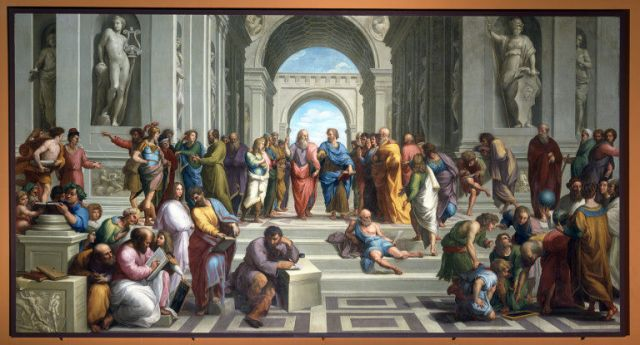 The School of Athens, by Raphael, depicting the central figures of Plato and Aristotle, and other ancient philosophers exchanging their knowledge.